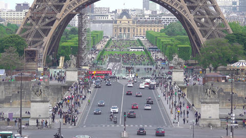 Daytime Traffic and Eiffel Tower. Fast Motion Footage