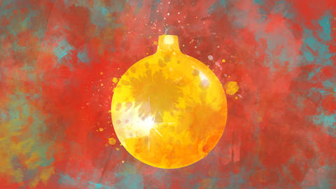 Watercolor Christmas decoration golden ball on the background of colored blots GIF