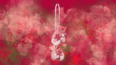 Watercolor Christmas decoration mittens on the back-ground of colored blots Animation