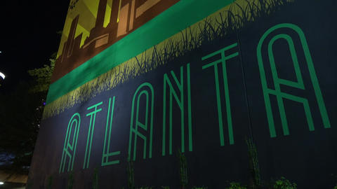 Atlanta writing on the wall of Glenn Hotel - ATLANTA / GEORGIA - APRIL 22, 2016 Live Action