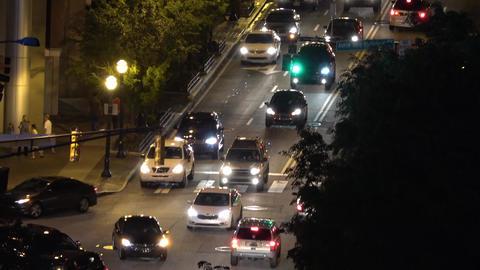 Traffic in Atlanta Downtown at night - ATLANTA / GEORGIA - APRIL 22, 2016 Live Action