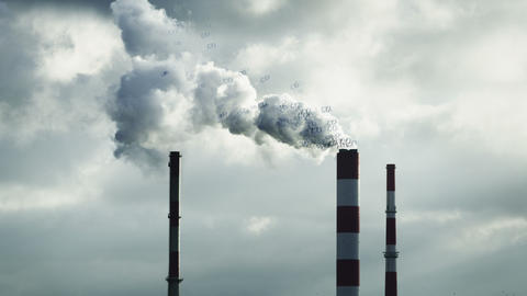 Air Pollution. Chimneys Footage