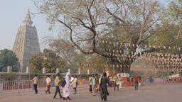 Souvenir sellers at temple entrance to Mahabodhi complex,BodhGaya,India Footage