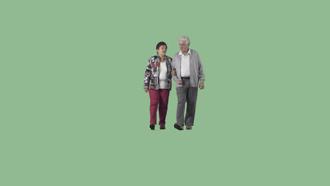Cute elderly couple in casual clothes is walking at the camera. Alpha channel Footage