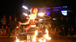 Colorful fire show with talented performers at an outdoor family festival Footage