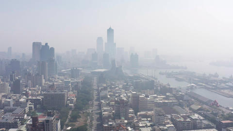 Aerial view of the smog over the city in the morning Live Action