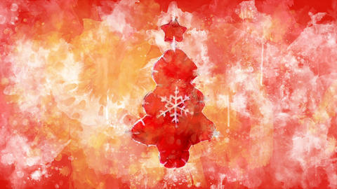 Watercolor decoration - red Christmas tree on the background of colored blots GIF