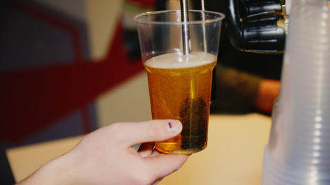 bartender fills cup with fresh beer in cafe close view Live Action