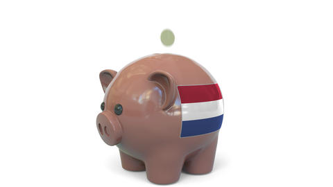 Putting money into piggy bank with flag of the Netherlands. Tax system system or Live Action