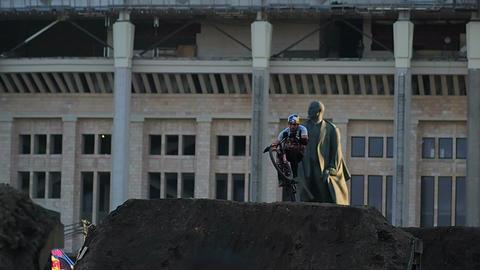 Sport. Motion bmx biker jumps Footage