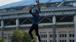 Sport. Motion bmx biker jumps Footage