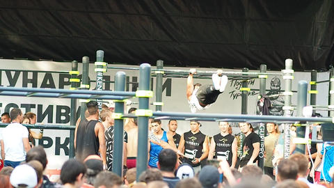 Unidentified athlete performs during the street workout championship at Moscow C Footage