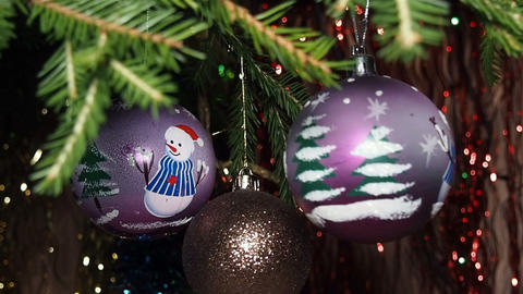 Christmas Decorations on The Christmas Tree. Shooting Pass Filmmaterial