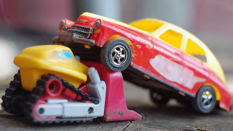 two bright toy cars for children Footage