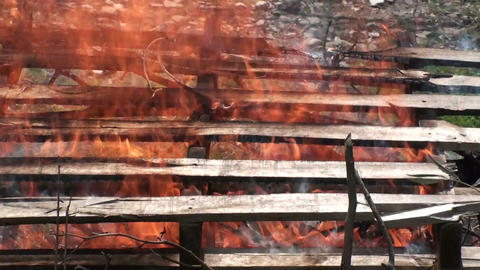 Burning wooden pallets 1 Footage