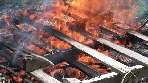 Burning wooden pallets 3 Footage