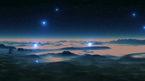 UFOs Fly Over Swampy Landscape Animation