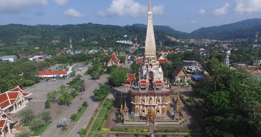 aerial view Chalong temple Footage