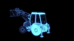 Excavator Car Wireframe Hologram Animation
