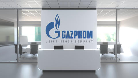 Logo of GAZPROM on a wall in the modern office, editorial conceptual 3D Live Action