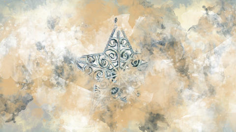 Watercolor Christmas decoration silver star on the background of colored blots Animation