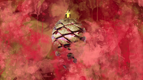 Watercolor Christmas decoration red cone on the back-ground of colored blots GIF