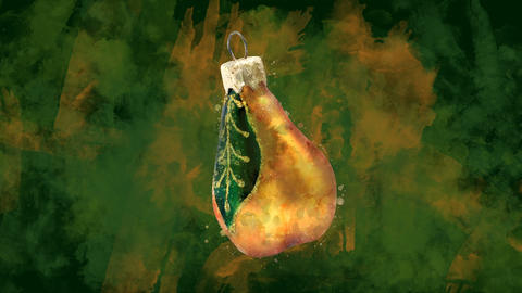 Watercolor Christmas decoration golden pear on the background of colored blots Animation