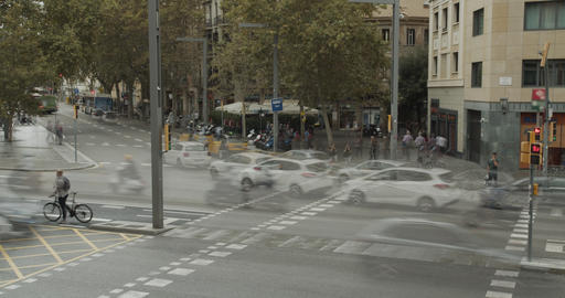 Timelapse. View of people and traffic at pedestrian crossing ビデオ