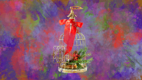 Watercolor Christmas decoration birdcage on the back-ground of colored blots Animation