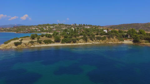 Aerial drone footage of coast with beautiful nature by the blue and turquoise crystal clear sea Archivo