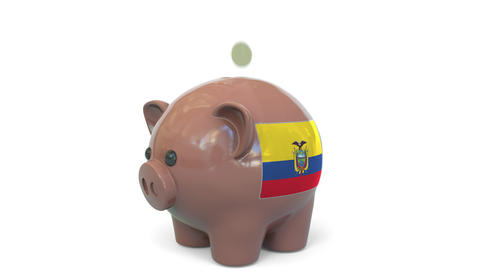 Putting money into piggy bank with flag of Ecuador. Tax system system or savings Live Action