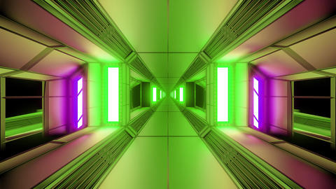 futuristic sci-fi space tunnel corridor with glowing lights and glass windows 3d Animation