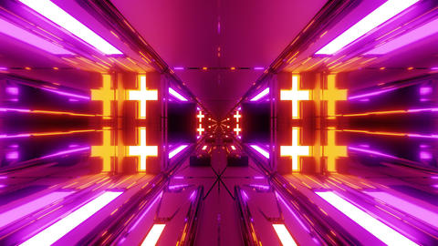 futuristic sci-fi space tunnel corridor with holy glowing christian crosses 3d Animation