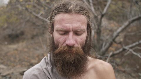 The sight of a meditating yoga ascetic Footage