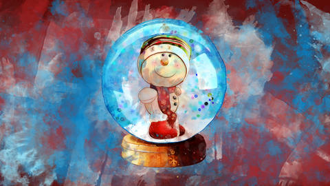Watercolor Christmas decoration snow globe on the background of colored blots GIF