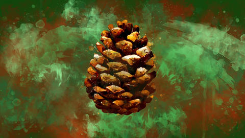 Watercolor Christmas decoration pine cone on the background of colored blots GIF