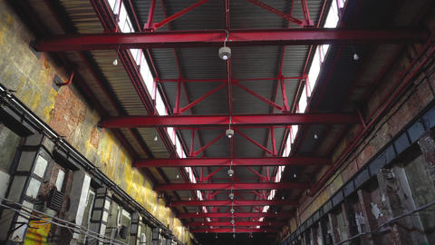 Walking through old and closed industrial factory Footage