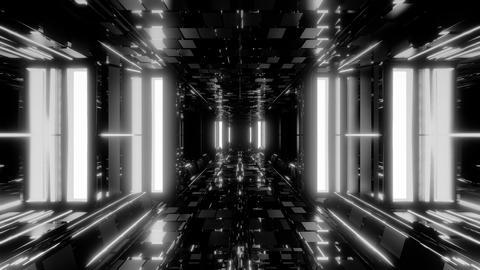 futuristic sci-fi space hangar tunnel corridor with ambient bricks texture 3d Animation
