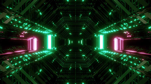 futuristic sci-fi space glass hangar tunnel corridor with wireframe 3d Animation