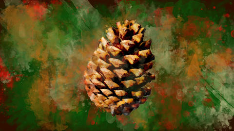 Watercolor Christmas decoration brown cone on the background of colored blots Animation