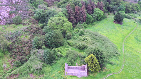 Aerial view of Raheen-a-Cluig medieval church in Bray, County Wicklow, Ireland Footage