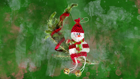 Watercolor Christmas decoration snowman, fir on the background of colored blots GIF