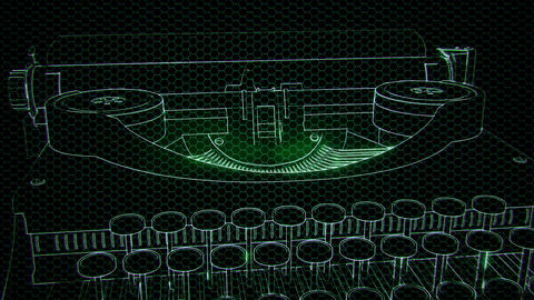 hologram of retro typewriter in the dark Archivo