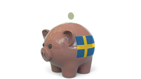 Putting money into piggy bank with flag of Sweden. Tax system system or savings Live Action