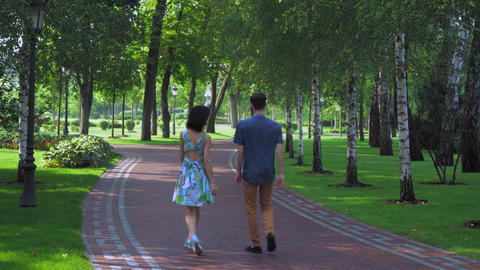 Young couple walking park with birches, holding hands Footage