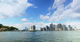 Lower Manhattan Skyline as Seen from East Harbor Ferry Footage