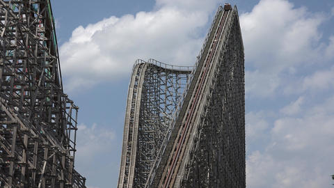 Amusement Park Wooden Coaster Footage