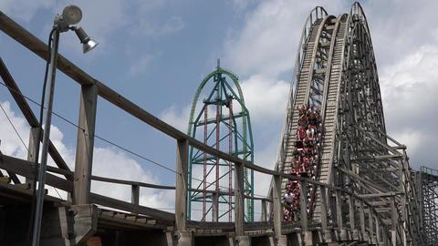 Amusement Park Wooden Coaster Live Action