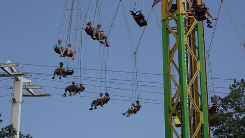 Amusement Park Chair Ride Footage
