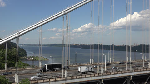 Suspension Bridge Highway Traffic Footage